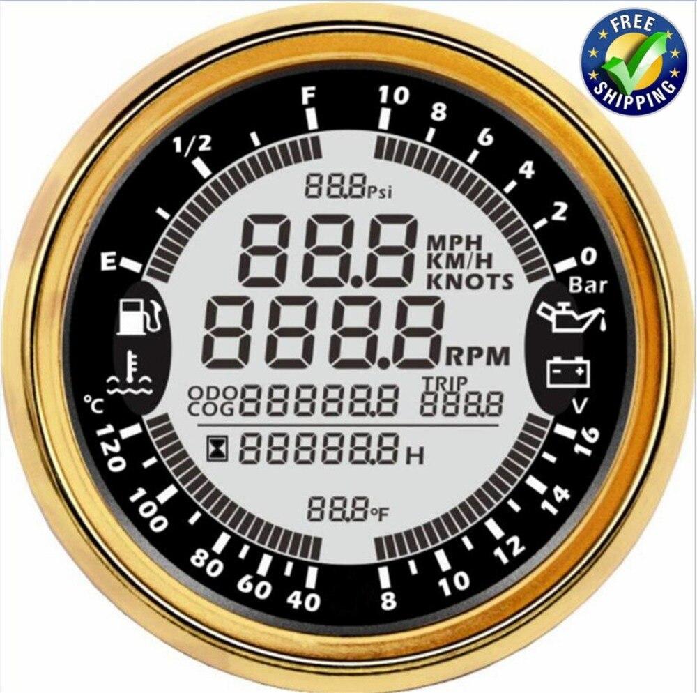 Newest Multi Gauges Digital GPS Speedometers 0-10Bar Engine Oil Pressure Gauges 8-16v Voltmeters Tach 85mm Water Temp Meters