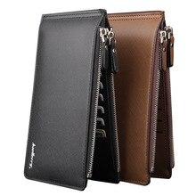 Hombres carteras de cuero Baellerry marrón negro larga cartera sólida de 2016 nuevo macho titular de la tarjeta elegante bolsos de embrague con cierre de cremallera