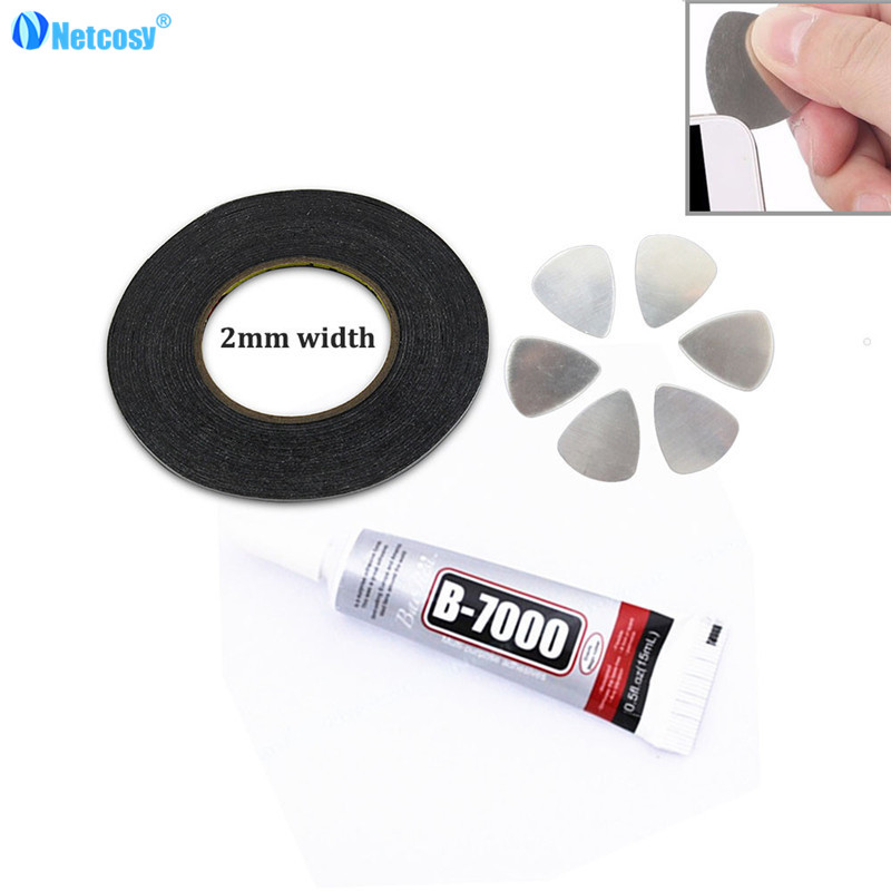 Netcosy 2mm Black Double Sided Sticky Tape adhesive For Camera TouchScreen LCD Glass Strong Sticky Tape & Pry tools &B-7000 Glue