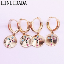8Pairs Gold color paved Zirconia round earring, rainbow cz cross dangle earrings