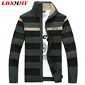 LONMMY Knitted cardigan men Velvet Thick Stripe Christmas sweater cardigans men Casual coat Stand collar Sweater men 2016 Winter