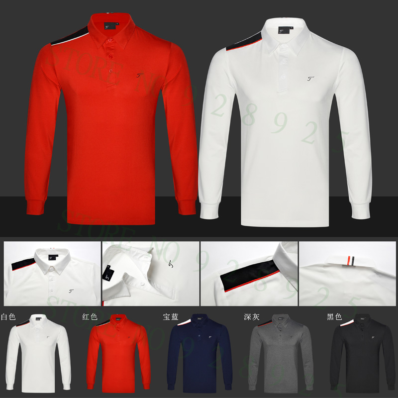 2018 Golf shirts Neueste Herbst Langarm Golf Aparrel Männer Atmungsaktive Sport Golf Kleidung Männer Polo Shirts Tops Navy Schwarz gre