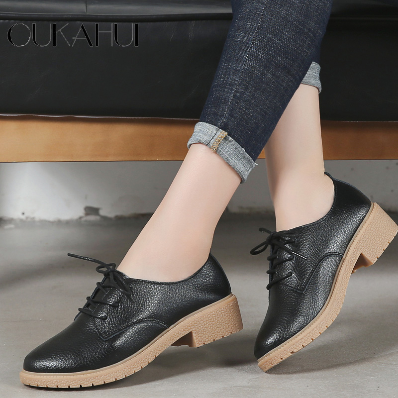 OUKAHUI Autumn New Fashion Small Size 33 41 British Style Oxford Shoes For Women Genuine Leather Square Heel 3.5cm Casual Shoes-in Women's Flats from Shoes