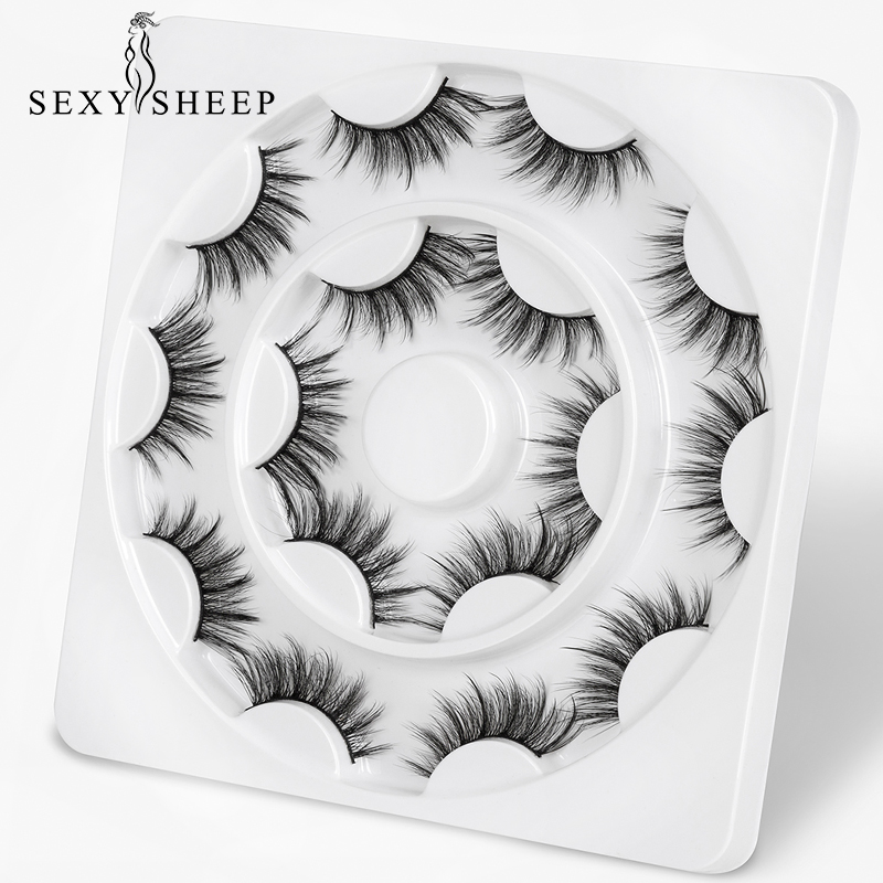 SEXYSHEEP 8 Pairs 3D Soft Faux Mink Hair False Eyelashes Natural Messy Eyelash Crisscross Wispy Lashes Extension Makeup Tools