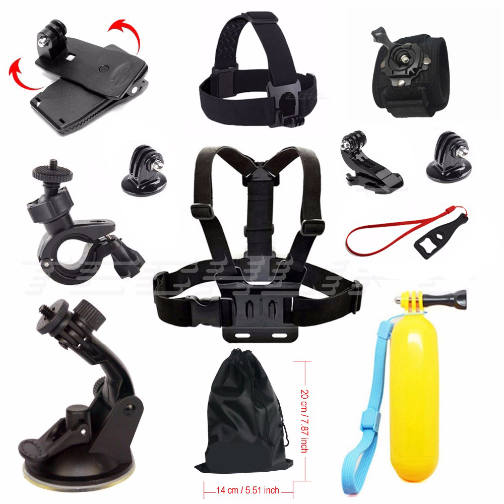 For Gopro hero 5 Sport camera accessories chest strap mount clamp kit for SJCAM go pro accessories xiaomi yi action camera 48 for gopro hero 4 gopro hero3 accessories kit xiaomi yi accessories for gopro sjcam xiao yi 4k action cam camera bag bike mount