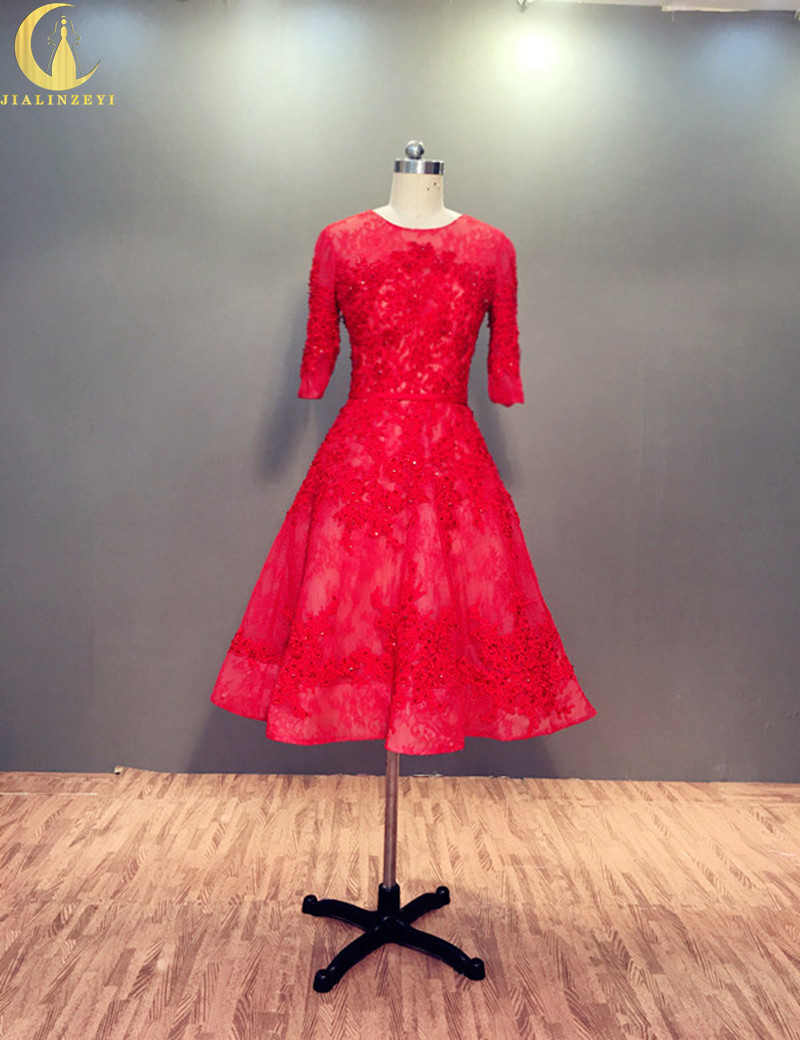 Rhen Real Sample Red Lace Appliques Fashion Ny Ankomst 2019 Elegant Knä Längd Formell Mode Party Klänningar Mor Prom Dress