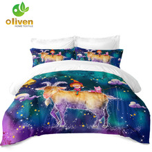 Cartoon Capricorn Constellation Bedding Set Colorful Galaxy Duvet Cover Kids Dreamlike King Queen Pillowcase D20