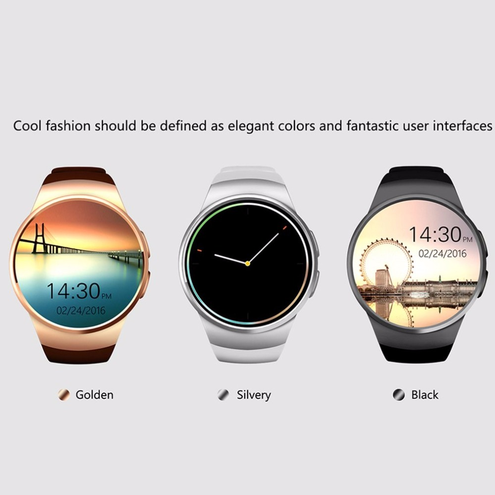 Golden/Black Remote Take Picture 240 * 240 pixels Bluetooth Smart Watch Phone KING-WEAR KW18 Sim&TF Card Heart Rate Smartwatch
