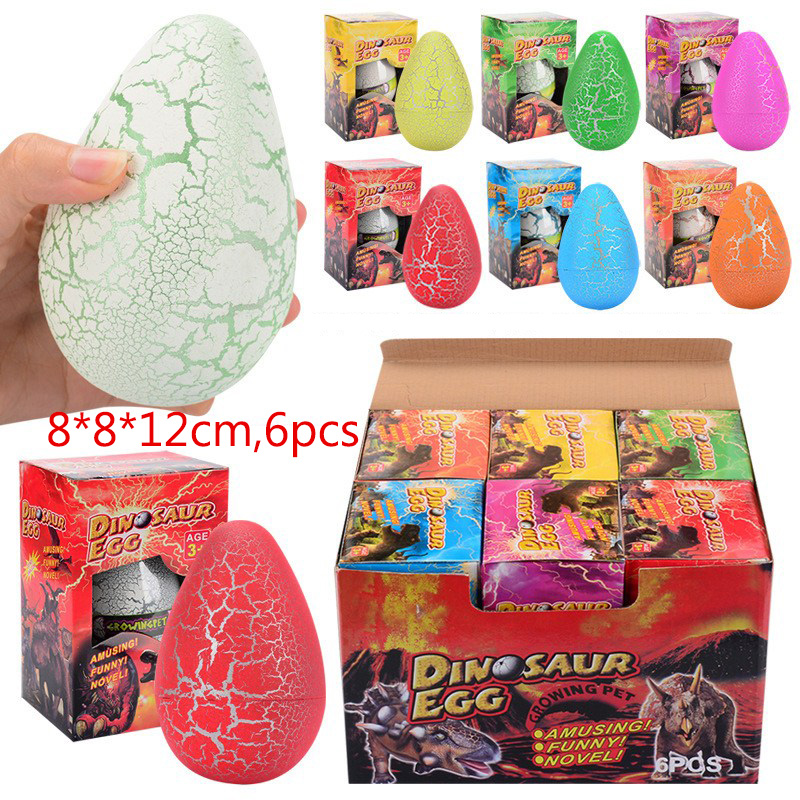 6PCS 8*12CM Big Magic Hatching Growing Dinosaur Eggs Novelty Gag Toys For Kids Child Educational Add Water Growing Dinosaur Toys