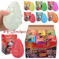 6PCS 8*12CM Big Magic Hatching Growing Dinosaur Eggs Novelty Gag Toys For Kids Child Educational Add Water Growing Dinosaur Toys