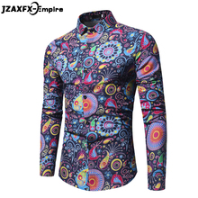 2018 New Fashion Trend Flower Shirt Men Casual Long Sleeve camisa masculina High Quality Male Slim Fit Shirts