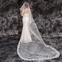 Свадебная вуаль 3 м, однослойная кружевная кромка, белая и слоновая кость, Длинная свадебная вуаль, дешевые свадебные аксессуары, Veu de Noiva