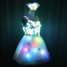 LED Dress Luminous Dress Glowing Wedding Dress Clothes Luminous Headwear Short Low Cut Group Skirt Women Ballroom Dance Clothing