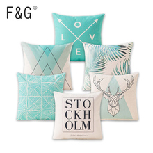 Nordic Scandinavian Geometry Pillows Case Geometric Decoration Throw Pillow Cushions Cover Rectangle Blue Black Leaf Dear Pillo