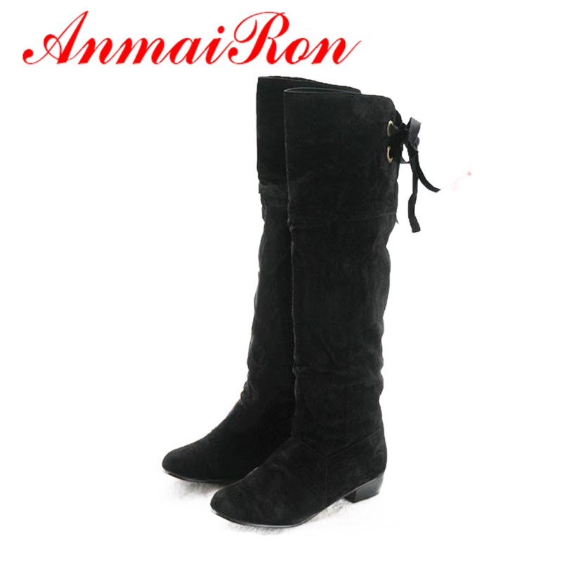 ANMAIRON Holiday Sale Fashion Women Nubuck Leather Over The Knee High Flat Boots Shoes Motorcycle Boots for Women Big Size 34 47