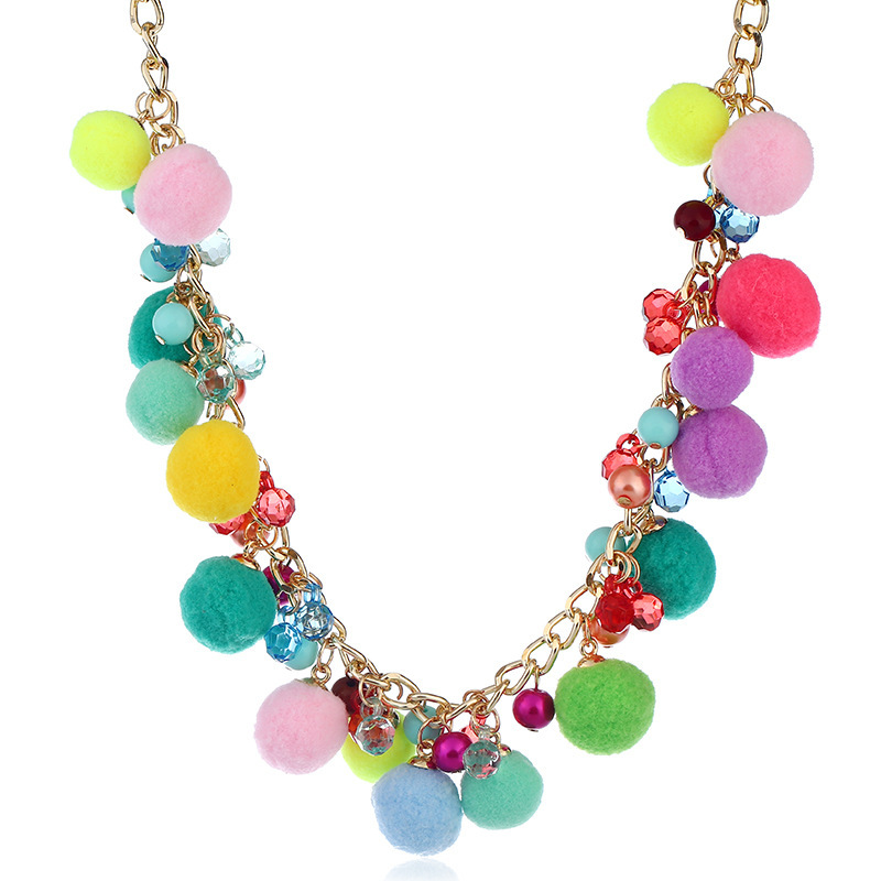 Best Sale Colorful Pompoms Tassel Pendant Long Collar Choker Necklaces For Women Fashion Jewelry mujer Vintage Bohemia Crystal