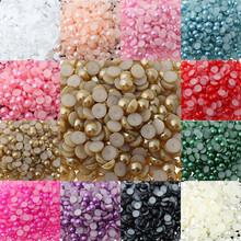 Multicolor 8mm 200Pcs/lot Lowest Wholesale ABS Imitation Pearls Half Round Beads Decorate For DIY Jewelry Making(China)