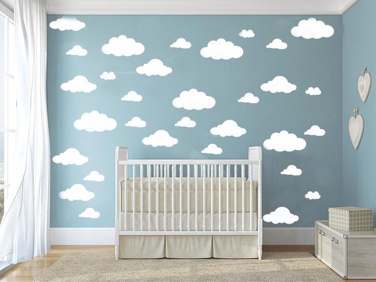 31db / szett DIY nagy felhők 4-10 hüvelykes fali matrica levehető fali matricák Vinyl gyerekek szoba dekor Art lakberendezés falfestmény KW-132