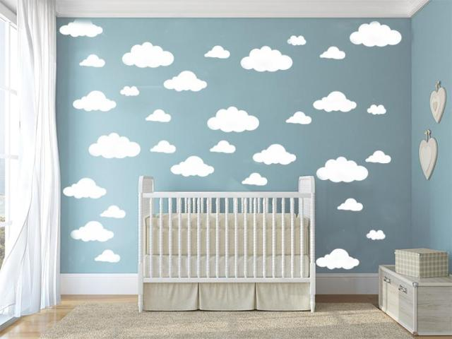 31pcs/set  DIY Big Clouds 4-10 inch Wall Sticker Removable Wall Decals Vinyl Kids Room Decor Art Home Decoration Mural KW-132