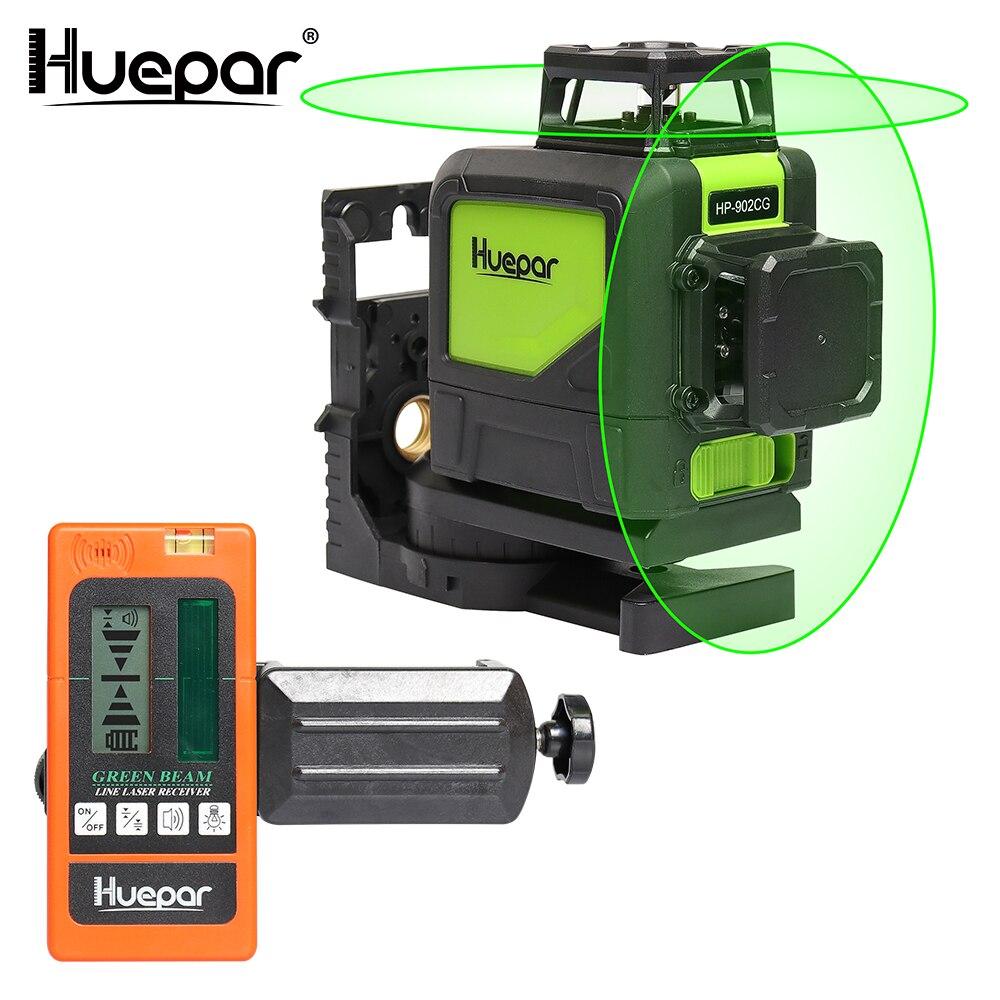Huepar Auto-nivelamento da Linha Profissional Linha Transversal Laser Feixe Verde 360-Grau com Modos de Pulso + Huepar Digital LCD Receptor Laser