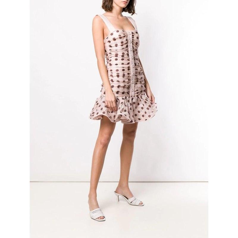 Dot blanc pink Imprimer Robe White De Mignon Spaghetti Coton Cassé Off 2019 Printemps Femmes Rose Nouvelles Courroie Mini Été qwItT6U
