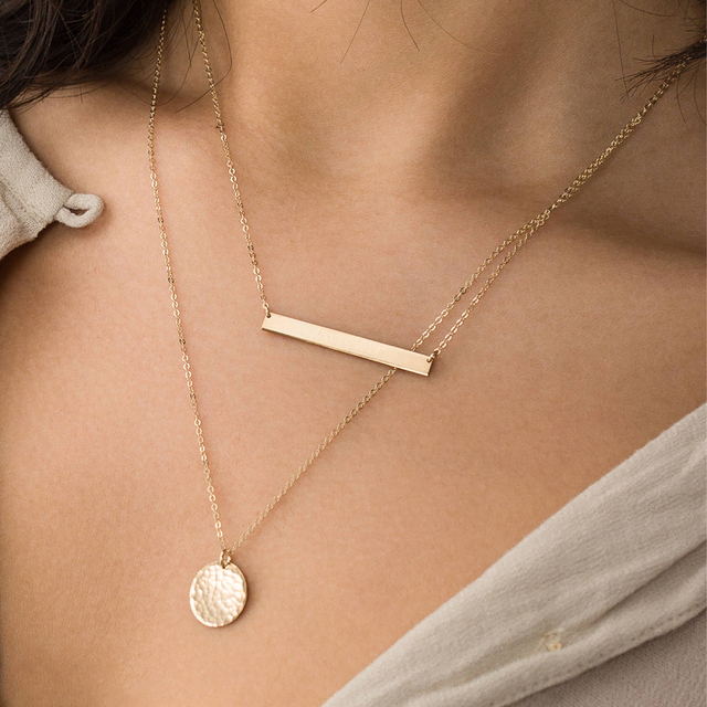 Korean Fashion Punk Style Stainless Steel Ladies Long Necklace Round Pendant Thin Necklace Ladies Jewelry Necklaces 2019