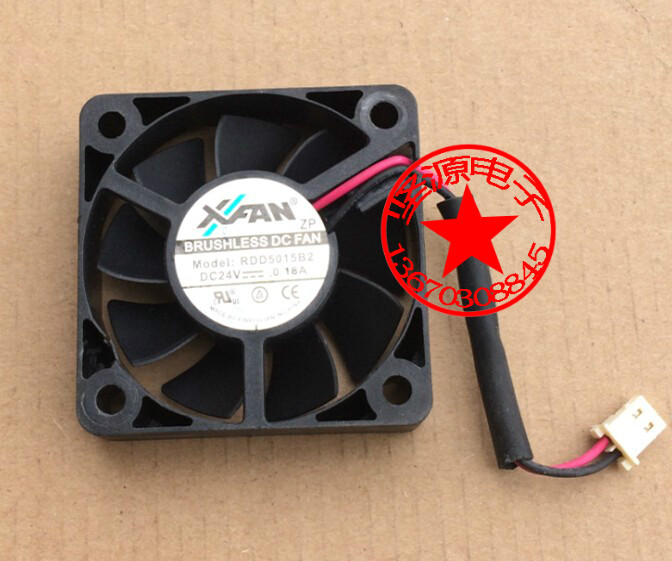 Free Shipping For XFAN RDD5015B2 DC 24V 0.18A 2-wire 2-pin connector 50x50x15mm Server Square Cooling