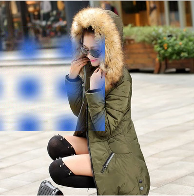 Thick Fur Collar Hooded Winter Women Jacket Long Zipper Pockets Female Cotton Padded Parkas Warm Coat