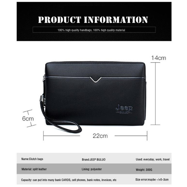 JEEP BULUO Men's Day Clutches Bags Luxury Brand High Quality Handbag Spilt Leather Long Large Wallets Hand bag Male Business