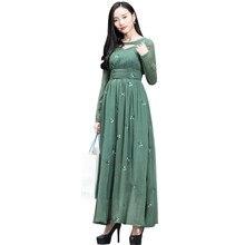 14618a2c1 Alta calidad M-3XL elegante vestido largo 2018 Primavera Verano mujeres  flor bordado Slim fit A-line Partido Verde gasa vestidos
