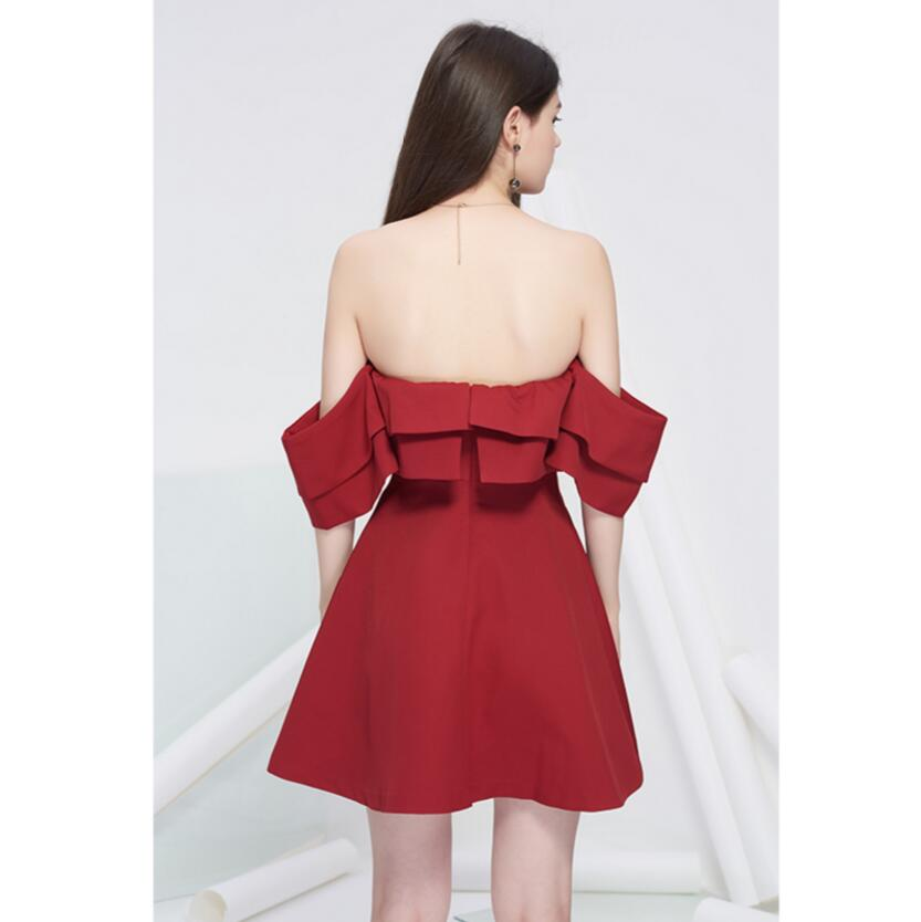 Summer Dress Short Slash Neck Elegant Sexy Off shoulder Ruffles Red Club Party Dress Short For Women High Quality Free Shipping - 3