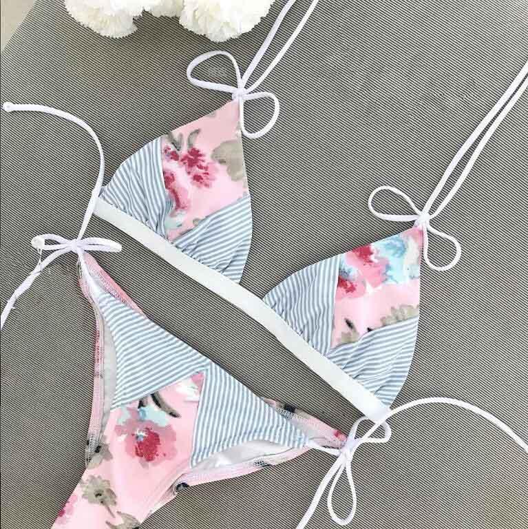 цены на Flower Print Bikini 2018 Swimwear girls Patchwork Swimsuit Push Up Stripe Bikini Set Bathing Suit Beachwear biquinis mujer в интернет-магазинах