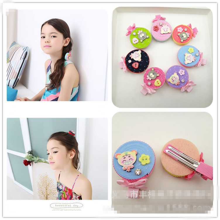 Korea High Quality Cute Princess Donuts Bear Hairpins Cartoon Hair Clips Girl Hair Accessories Kid Hair Ornaments Hairgrips