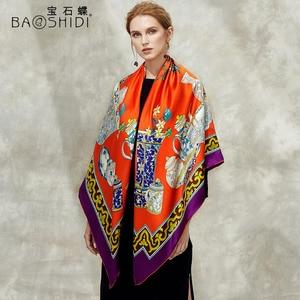 Image 5 - [BAOSHIDI] 100% di modo di seta sciarpa, 16 m/m di spessore, Infinity 132*132 cm Sciarpe delle donne, elegante di marca sciarpe, scialle delle signore, donna hijab