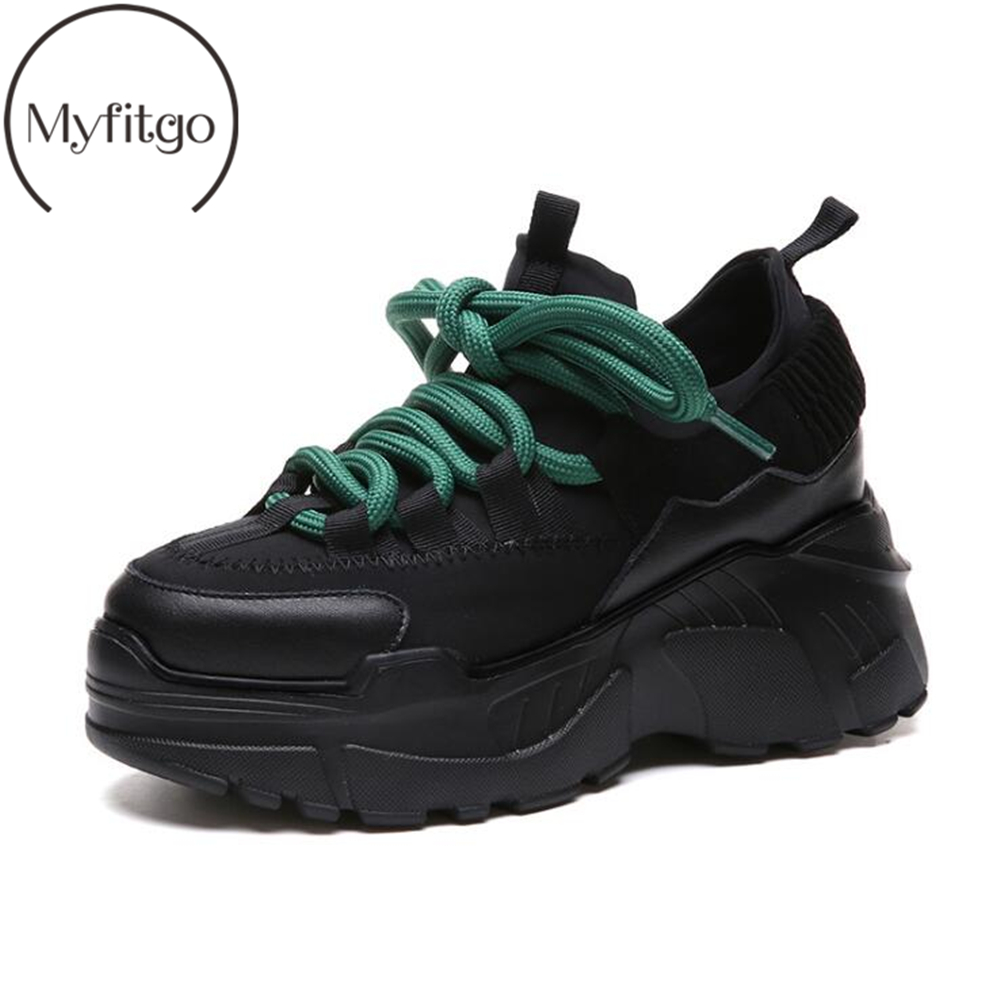 Myfitgo Women Platform Chunky Vulcanize Sneakers Trainers Dad Shoes For Girls Women Sneakers Thicken Sole Lace up Casual Shoes