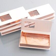 100pcs wholesale false eyelash packaging box lash boxes customize your logo fake 3D mink eyelashes strips cases empty organizer