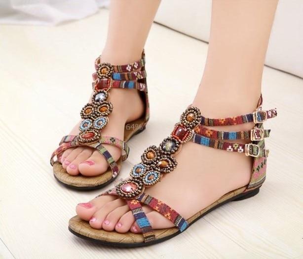 La estive Sandal Great Stile Roman Sandali Lady Scarpe Bohemias donna 2015 moda etnico nuova 5q4ALRj3