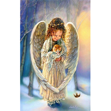 Diy angel painting diamond square mosaic sequins embroidery full of diamonds sale Angel and kitten