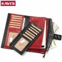 KAVIS Women Wallet Female Cow Genuine Leather Purse Clutch Coin Purse Long Design Red Walet Portomonee