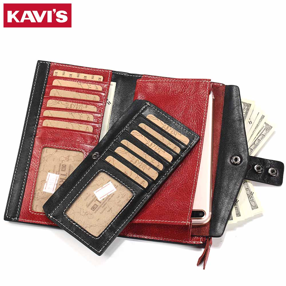 KAVIS Women Wallet Female Cow Genuine Leather Purse Clutch Coin Purse Long Design Red Walet Portomonee Hasp Handy Lady and Girls kavis 2018 fashion small wallet female coin purse genuine leather women wallet mini portomonee lady luxury brand rfid red walet