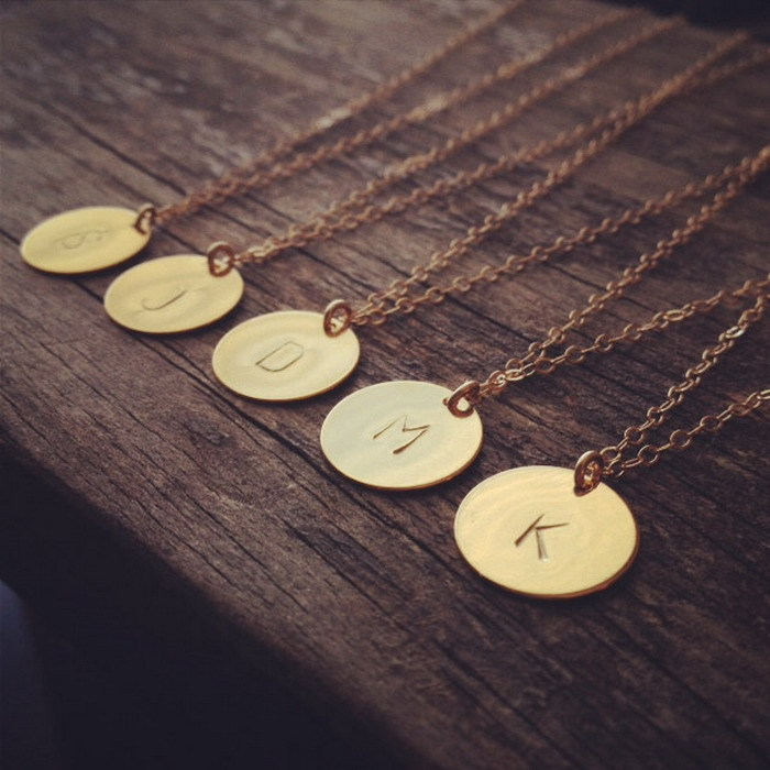 2016 initial necklace personalized discs charm custom letter friendship jewelry gift golden round plated necklace pendants