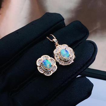 Natural opal gemstone necklace and ring jewelry set for women real 925 silver natural opal good firework girl birthday gift