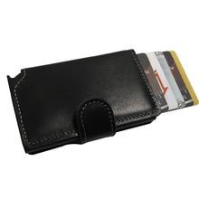 Бесплатная доставка Противоугонная мужчины кожаный бумажник мини rfid кошельки автоматический aluminiun держателя карты Pop Up Card Case