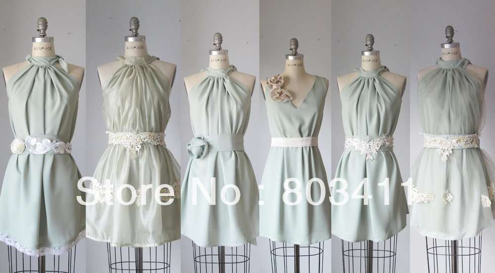 Freeshipping Pretty Real Pictures Series Flowers Knee-length Juior   Bridesmaid     Dresses
