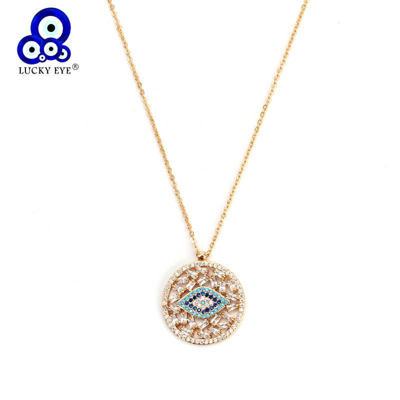 Lucky Eye Round Pendant Necklace Turkish Evil Eye Necklace Golden Long Chain Micro Pave Charm Jewelry for Women Female EY6320