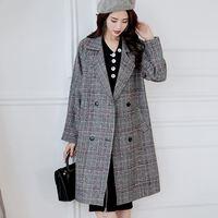 modis lattice long Woolen coat female Loose Wool Blend Coat Jacket for women Coats Autumn Winter manteau femme hiver veste femme