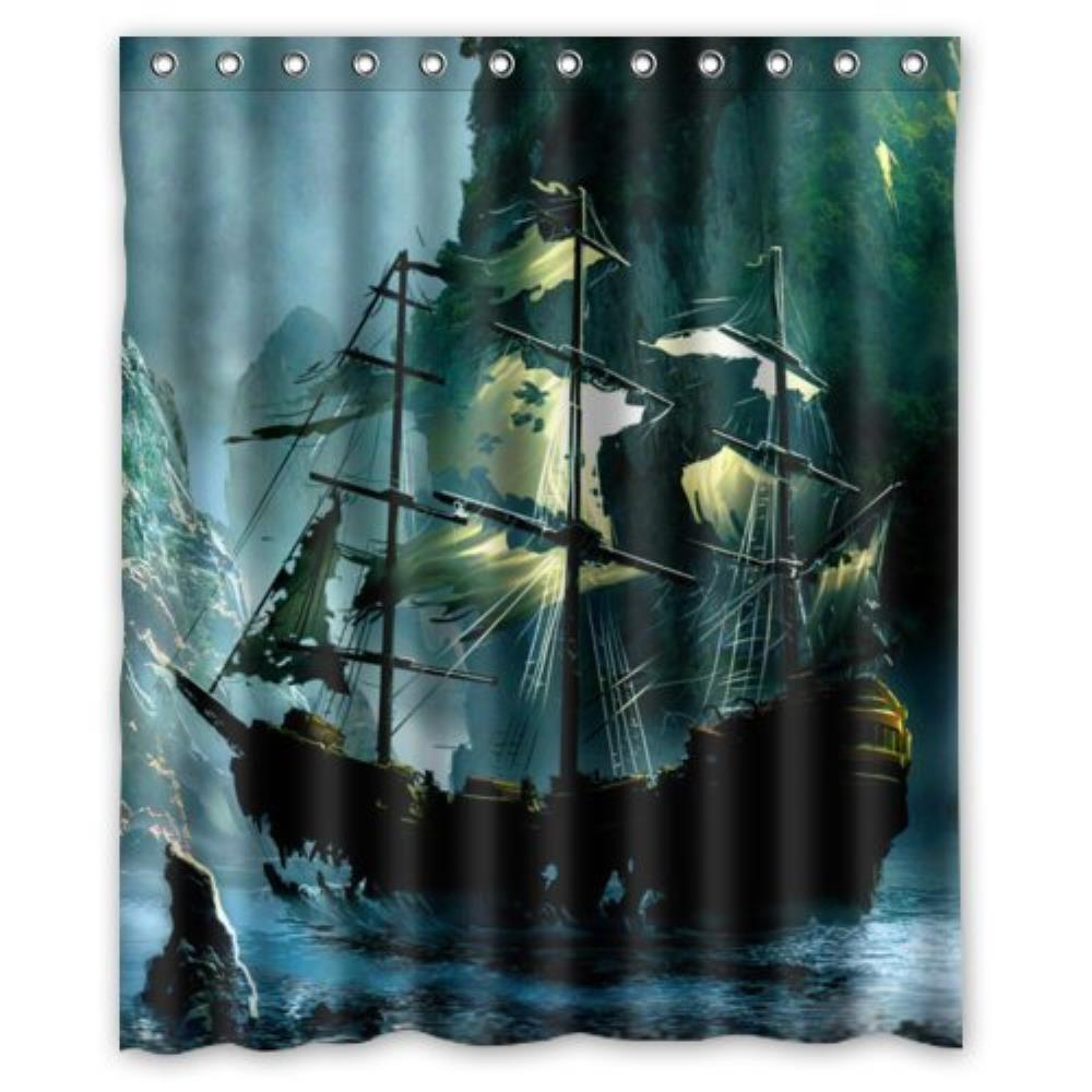 Jolly roger shower curtain - Special Design Cute Nautical Vintage Sailing Pirate Ship Theme Waterproof Bathroom Custom Shower Curtain Bathroom Decor