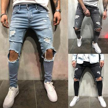 Moda Streetwear męskie jeansy Vintage niebieski szary kolor Skinny zniszczone porwane dżinsy złamane punkowe spodnie Homme dżinsy hip-hopowe męskie tanie i dobre opinie Acacia Person Zipper fly Stonewashed Udzielenie WHITE Medium W stylu Punk Midweight Pełnej długości HOLE Stałe Stripe