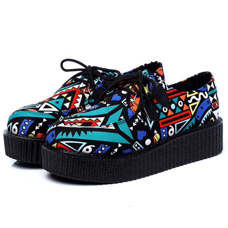 LAKESHI Creepers Women Casual Shoes Round Toe Flat Platform Shoes Summer Women Shoes Fashion Lace-Up Suede Creepers Shoes creepers women shoes black white striped shoes female casual flat platform shoes round toe thick soled ladies shoes