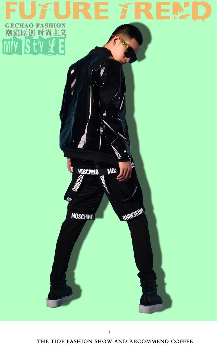 Men Black Patent Leather Jacket Coat Custom Made Stage Rock Hip Hop Celana Panjang Chino With Ribbon List Getsubject Aeproduct